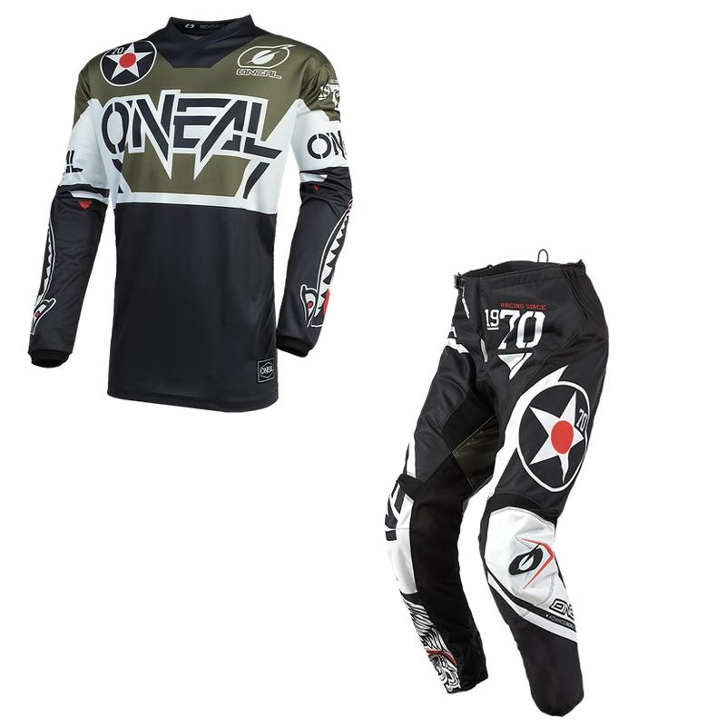 Completo cross O'Neal ELEMENT WARHAWK 2021 black white green maglia+pantaloni 1