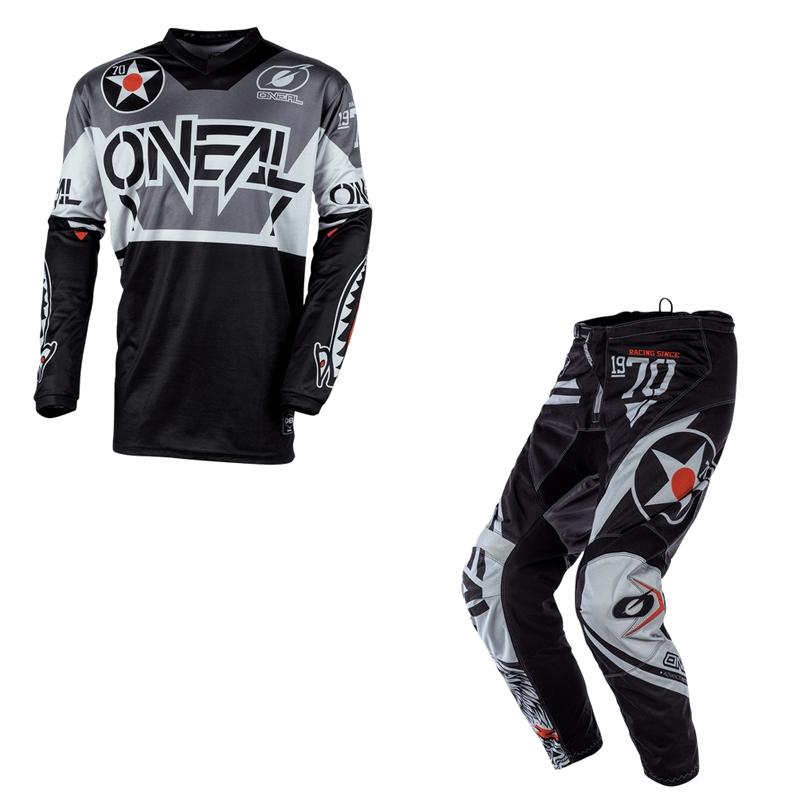 Completo cross O'Neal ELEMENT WARHAWK black gray 2020 maglia+pantaloni 1