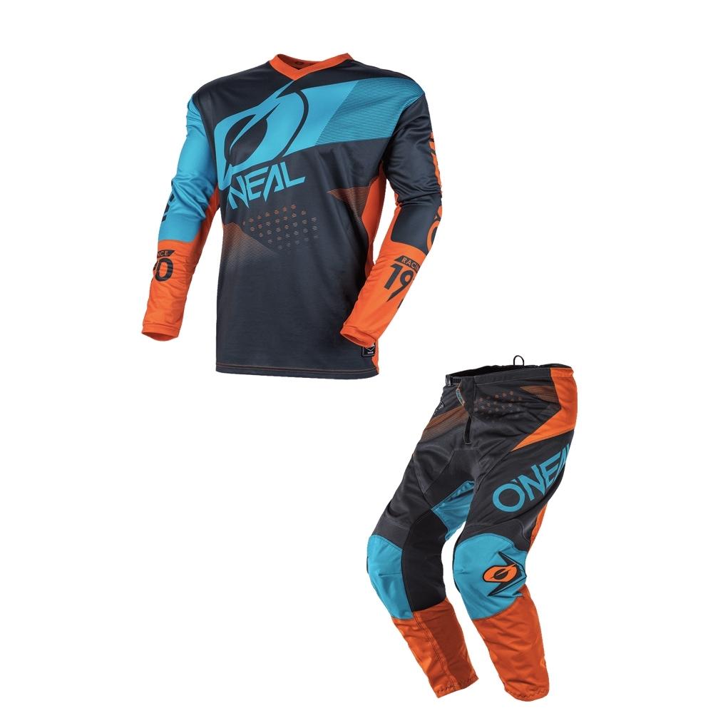 Completo cross O'Neal ELEMENT FACTOR grey orange blue 2020 maglia+pantaloni 1