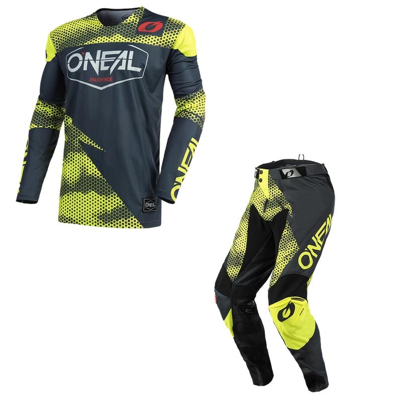 Completo cross O'Neal MAYHEM COVERT 2021 charcoal neon yellow maglia+pantaloni 1