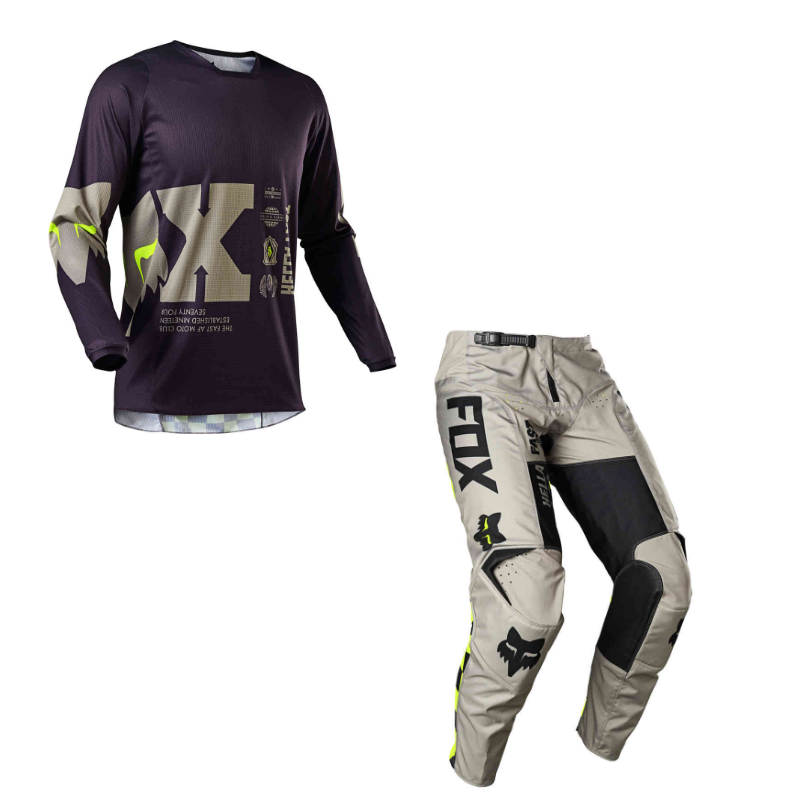 Completo cross enduro Fox 180 ILLMATIK Dark Purple Sand 2021 pantaloni+maglia 1