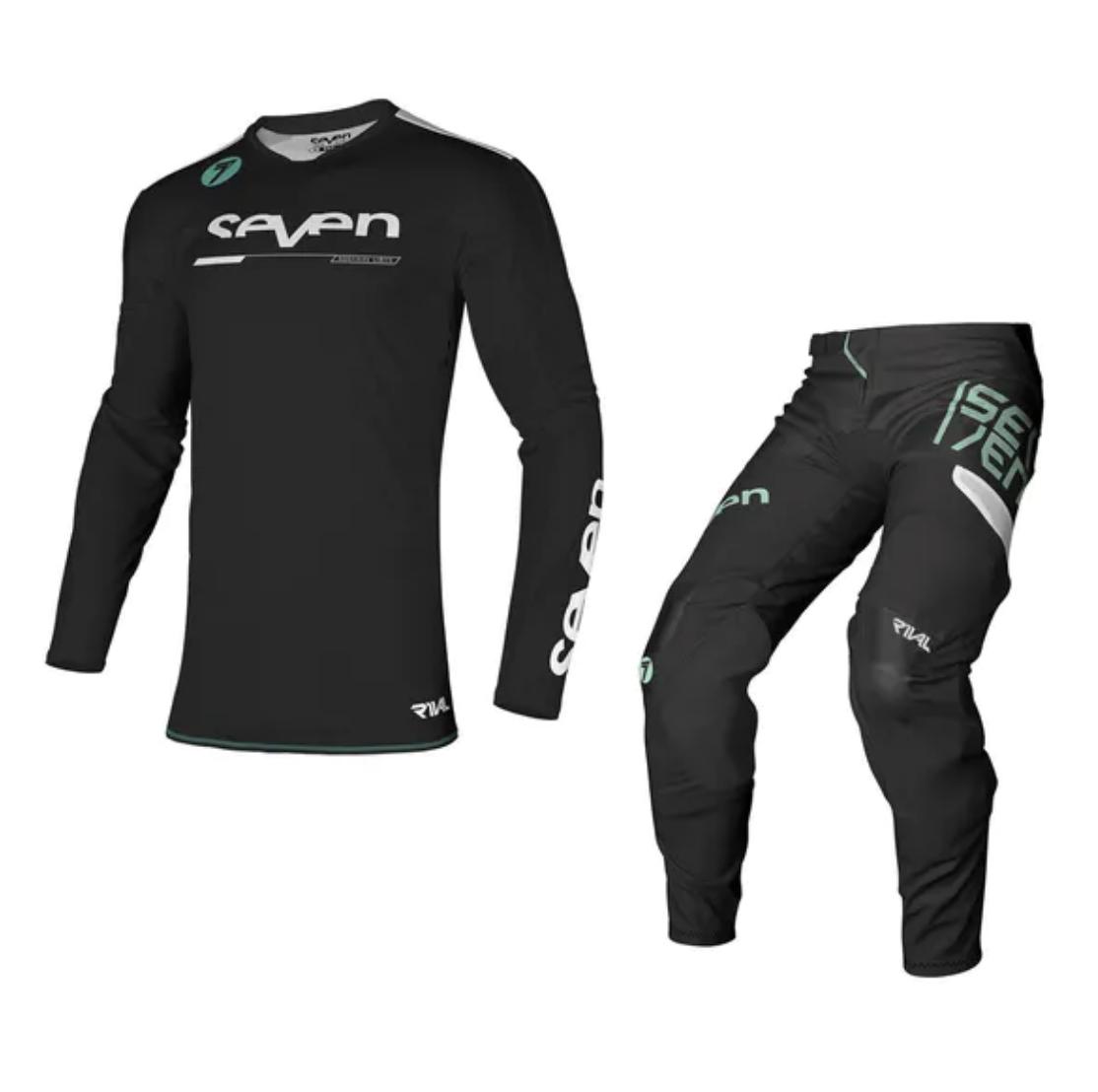 Completo cross Seven Rival Rampart Nero 2021 pantaloni+maglia 1