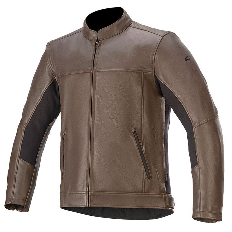 Giubbino moto pelle Vintage Alpinestars TOPANGA Marrone 1
