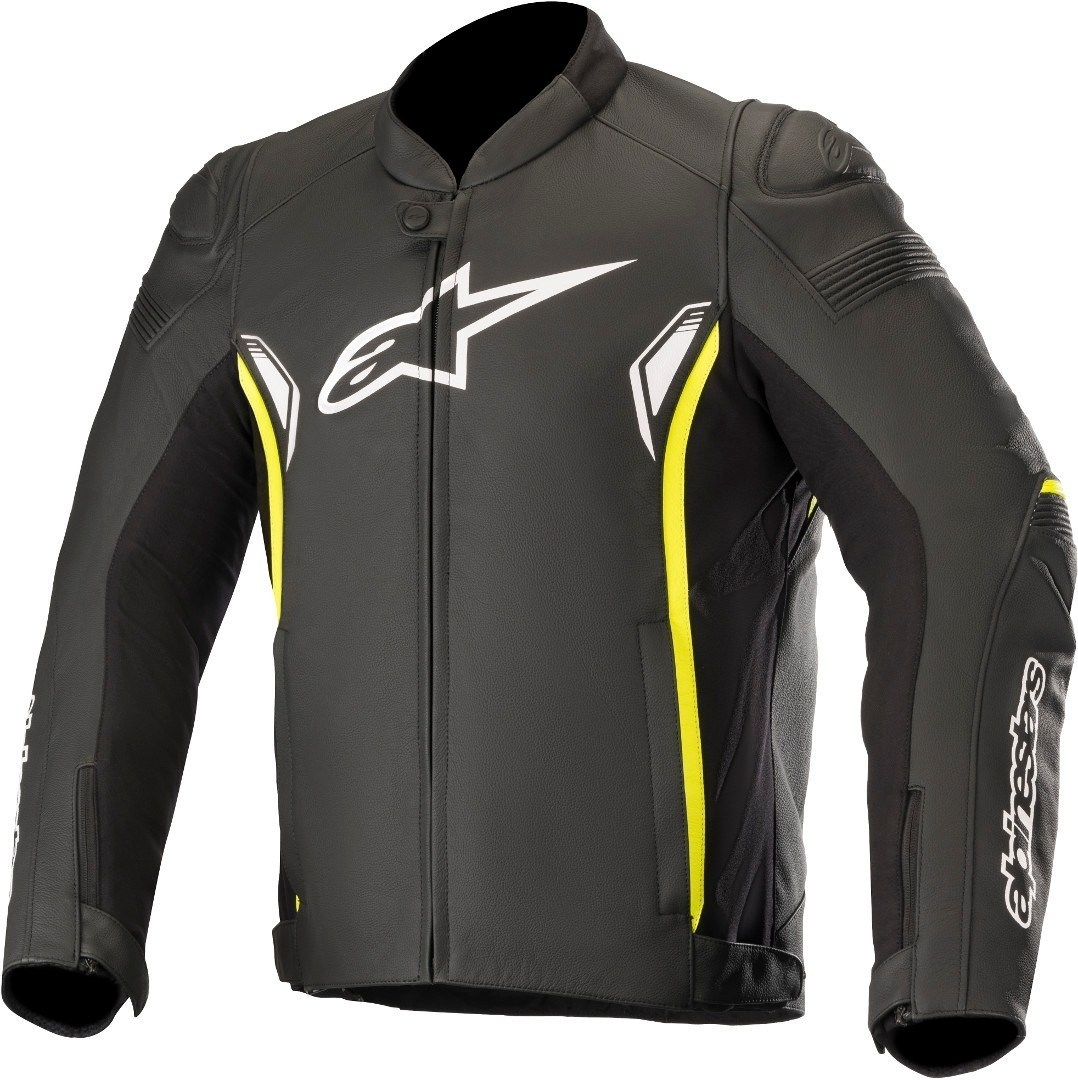 Giubbino moto pelle racing Alpinestars SP-1 V2 Leather nero giallo fluo 1