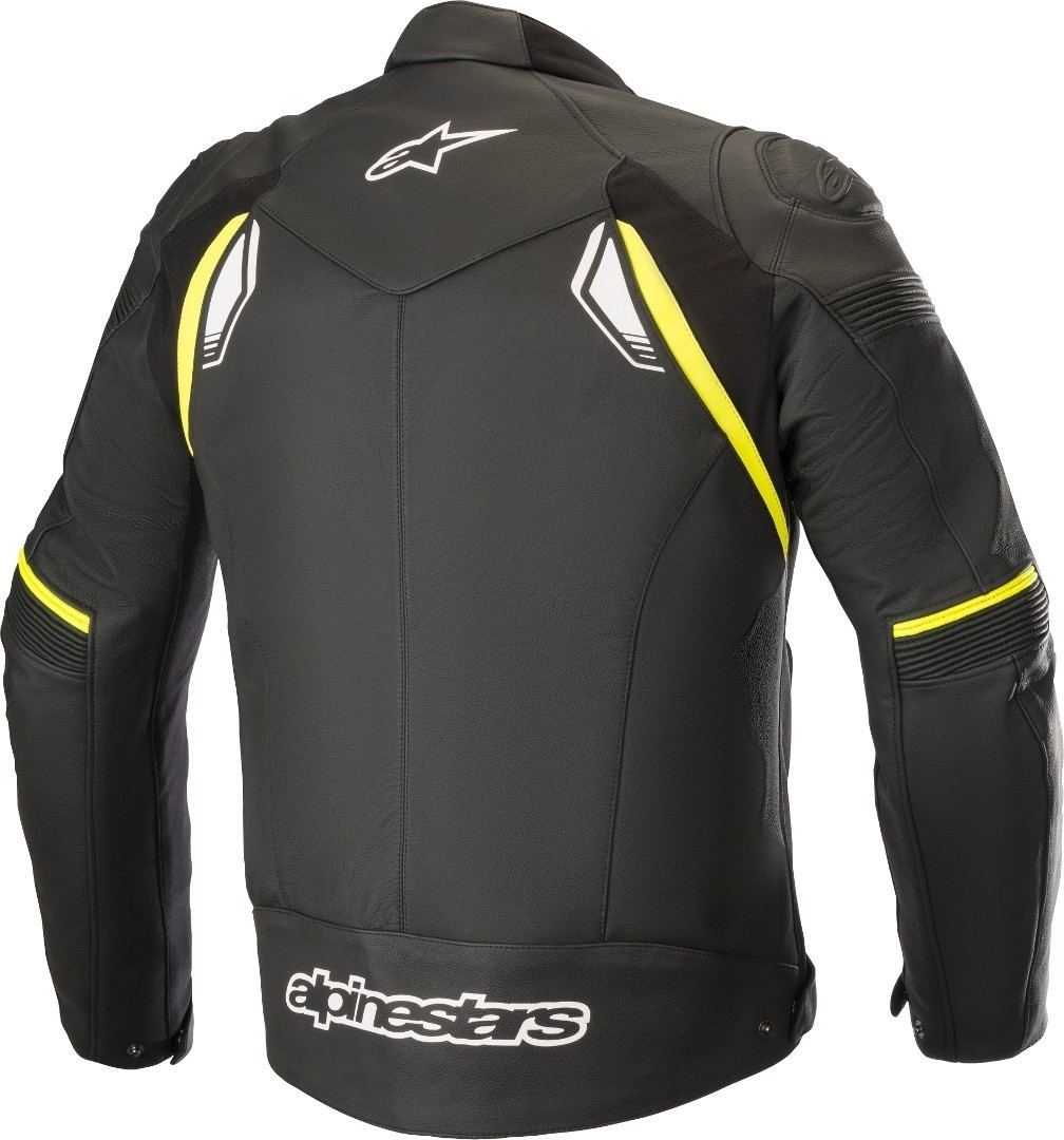 Giubbino moto pelle racing Alpinestars SP-1 V2 Leather nero giallo fluo 2