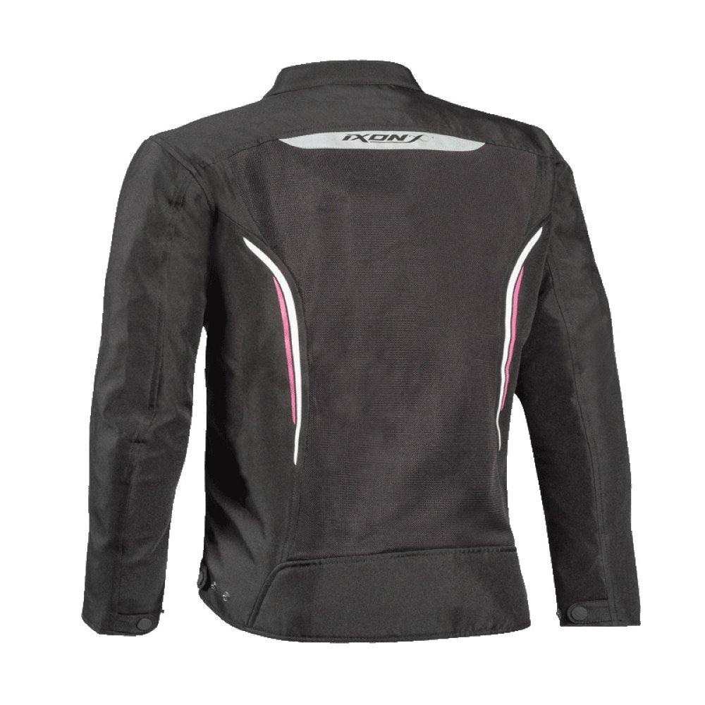 Giubbino moto traforato donna Ixon COOL AIR C taglie forti nero bianco rosa 2
