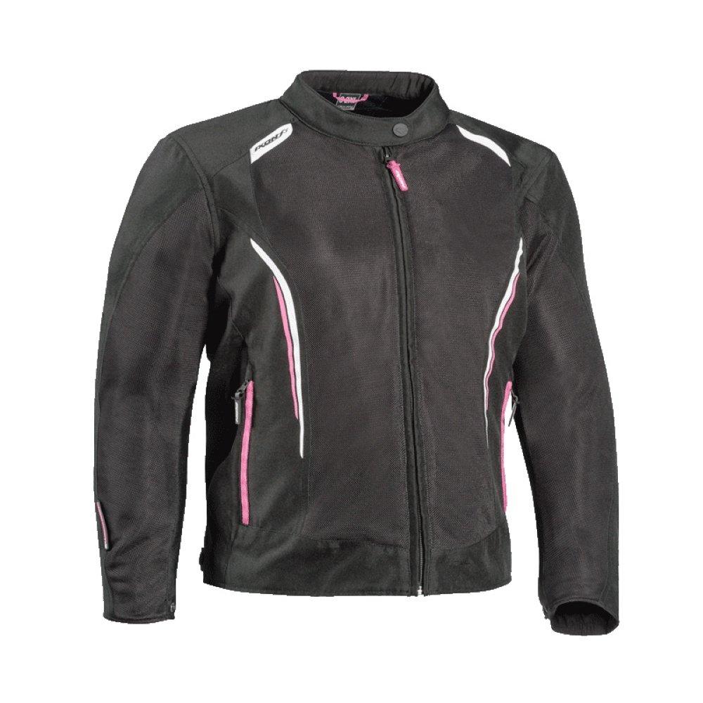 Giubbino moto traforato donna Ixon COOL AIR C taglie forti nero bianco rosa 1