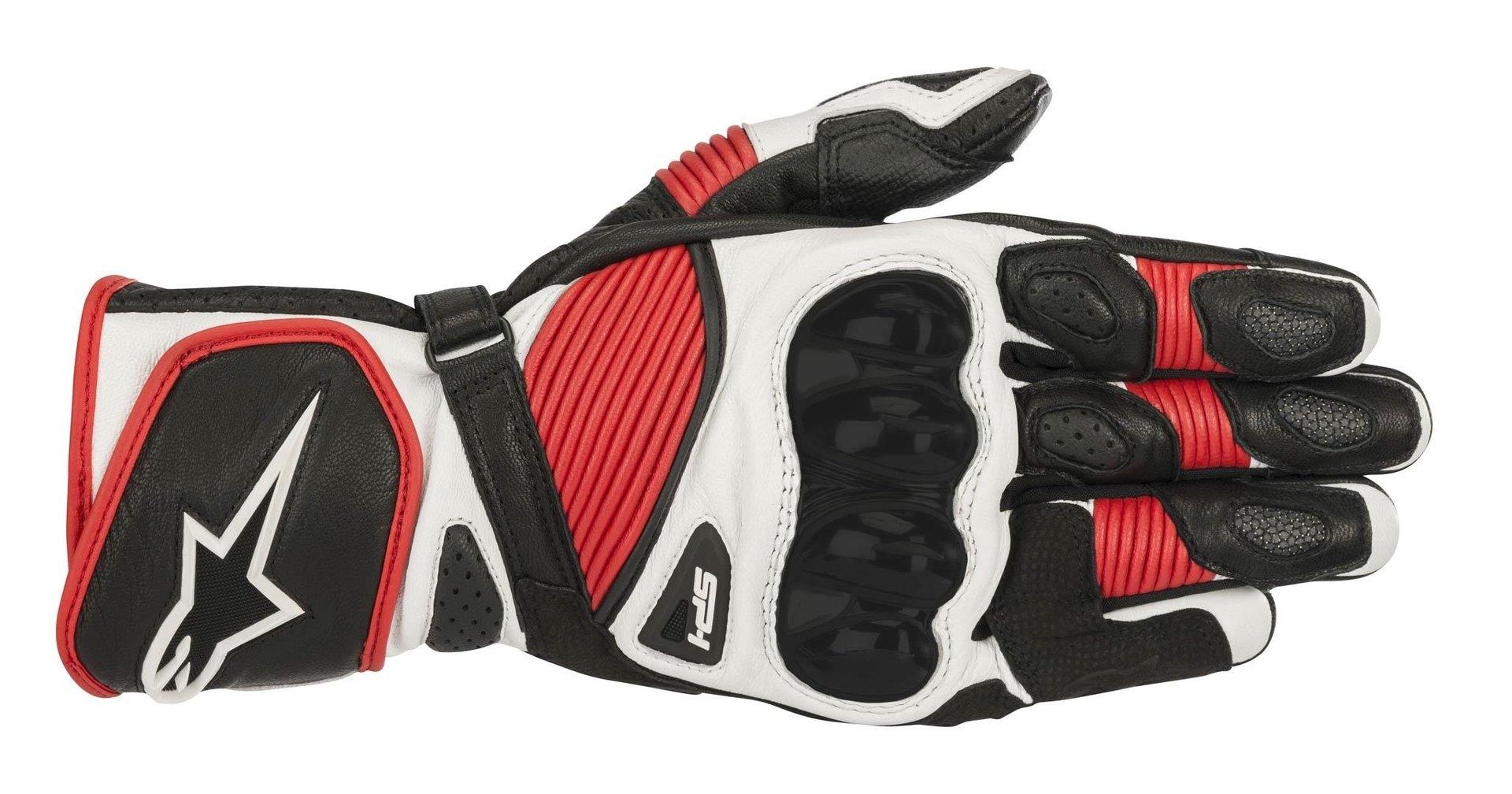 Guanti moto in pelle con protezioni Alpinestars SP 1 V2 Rosso bianco nero 1