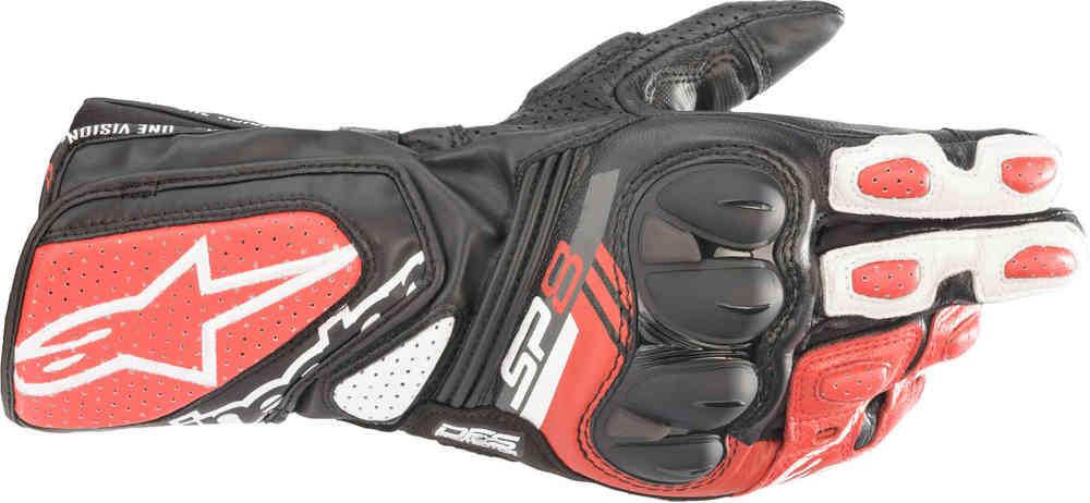 Guanti moto in pelle con protezioni Alpinestars SP-8 V3 Nero Bianco Rosso 1