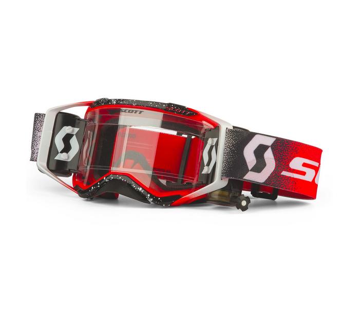 Occhiali (maschera) cross 2020 Scott PROSPECT WFS white red con Roll Off 2