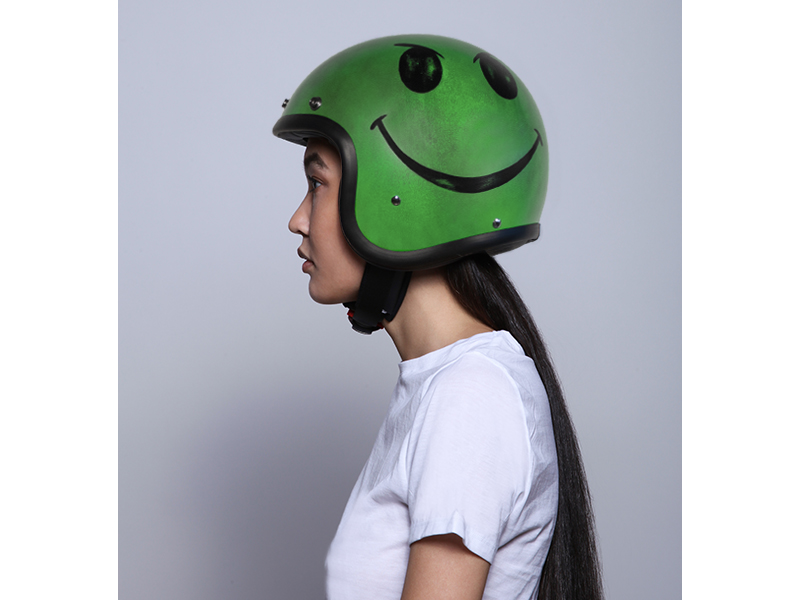 Casco jet Dmd VINTAGE Handmade SMILE Acid Green 4