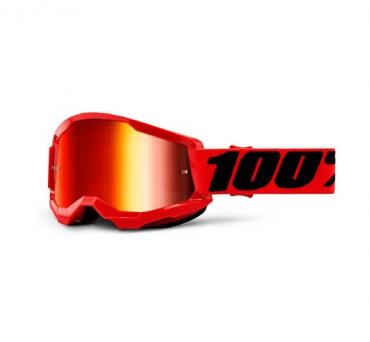 Occhiali (maschera) cross 100% STRATA 2 Giallo fluo lente specchio rosso