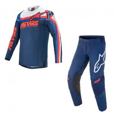 Completo cross enduro Fox 180 REVN blue steel 2021 pantaloni+maglia