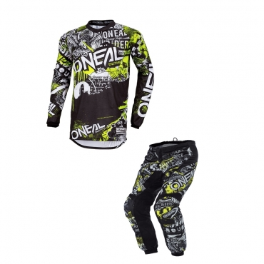 Completo cross enduro Alpinestars techstar factory metal grigio 2020 pantaloni+maglia