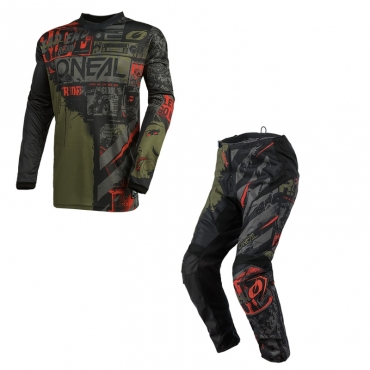 Completo cross O'Neal ELEMENT FACTOR blue yellow 2021 maglia+pantaloni