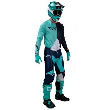 Completo cross Alpinestars SUPERTECH BLAZE Bright Red Blue 2021 pantaloni+maglia
