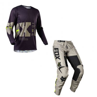 Completo cross enduro Fox FLEXAIR Psycosis black white 2021 pantaloni+maglia