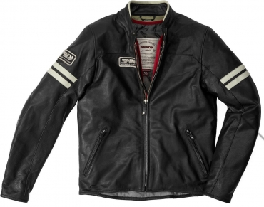 Giubbino moto pelle donna Spidi CAFE RACE nero